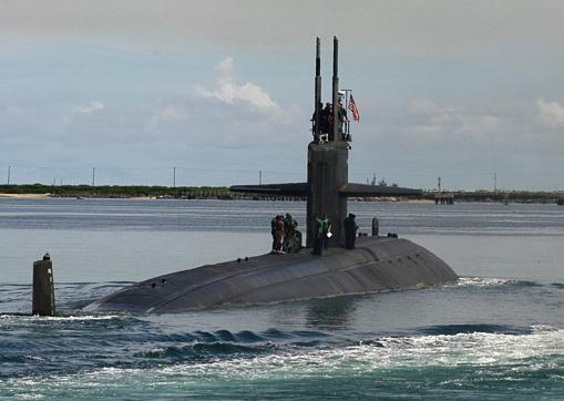 USS SAN FRANCISCO departing Guam for repairs in Washington
