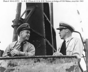 Mush Morton (r) and Dick O'Kane (l).  Two men with a room full of torpedos and bad intentions
